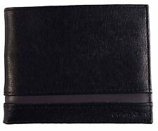 NEW CALVIN KLEIN BLACK LEATHER BILLFOLD ID CREDIT CARD MEN WALLET KEY FOB 79485