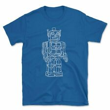 Vintage Robot Line Drawing T Shirt | Classic Retro Clockwork Toy Gift