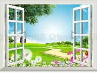 Dandelion Flower 3D Window View Removable Wall Stickers Decals Vinyl art decor