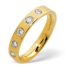 NEW 4mm 18ct Yellow Gold 5 Stone Diamond Flat Court Wedding Ring H-Q UK Hallmark
