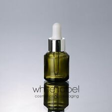 30ML GREEN GLASS DROPPER COSMETIC BOTTLE WITH SILVER CAP WHOLESALE-NEW 50PCS/LOT