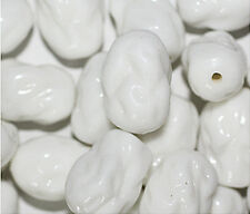 White Dimple Nugget Czech Pressed Glass Beads   (pack of 20)