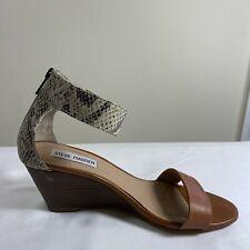 Steve Madden Women's Size 8 Nanncy Leather Wedge Heel Ankle Strap Sandals