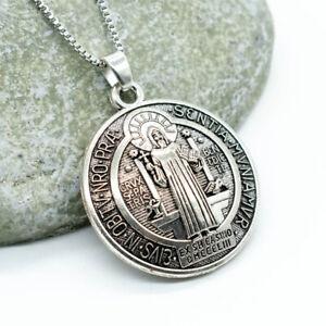 "3D Saint St Benedict Medal Thick Pendant Necklace w 24"" Box Chain Silver Tone"