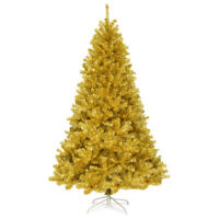 7.5ft Artificial Tinsel Christmas Tree w/1258 Tips Foldable Stand Champagne Gold