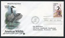 2334 * CANADA GOOSE FROM 1987 WILDLIFE SET * SOUVENIR PAGE & HAND-TINTED FDC * *