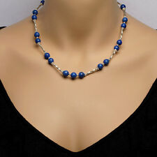 Sterling Silver & Lapis Lazuli Bead Necklace With Matching Bracelet & Earrings