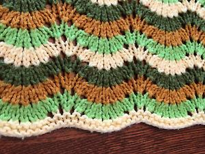 Vintage Handmade Crochet Afghan Blanket Green Yellow Brown