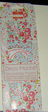 First Edition Deco Mache Paper x3 sheets 26 x 37.5cm Blue floral paisley