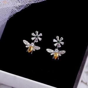 925 Sterling Silver Cute Daisy Sun Flower Bee Shiny Stud Earrings Zirconia UK