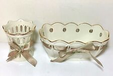 Lenox Pierced Gold Rim Ivory Bowl & Voitve Holder, Pink & Green Ribbon, Usa