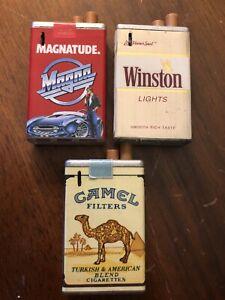 Vintage Pack Light Lighters Cigarette Advertising Camel Winston Magna LOT OF 3!