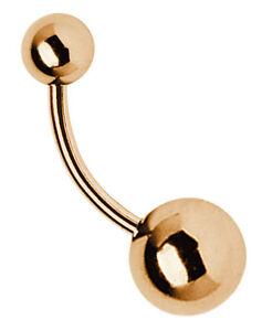 Bauchnabel Piercing Schmuck Banane Rose Gold mit 2 Verschluss Kugeln in 5/8mm