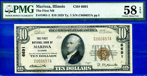 TOP POP 2/0 - 1929 $10 National (( Marissa, Illinois - CH# 6691 )) PMG AU-58EPQ