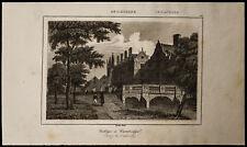 1842, Gravure ancienne Collège de Cambridge / Angleterre engraving university