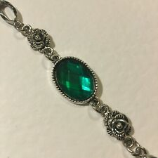 VICTORIAN STYL EMERALD GREEN ACRYLIC CRYSTAL DARK SILVER PLATED ROSE BRACELET RS