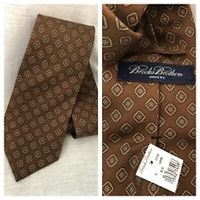 """New Brooks Brothers Italy Silk Brown Blue Diamond Neck Tie 59 x 3.7"""" Made in USA"""