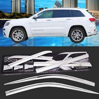 Chrome Vent Sun Shade Window Visors Rain Guard Deflectors For Jeep GrandCherokee