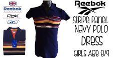 Reebok Chicas Raya Vestido Polo Panel Azul Marino Edad 8/9 Nuevo con etiquetas