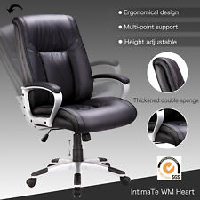 Black PU Leather High Back Office Chair Executive Task Computer Chair Ergonomic