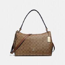 New Authentic Coach F28967 Mia Shoulder Bag Purse Handbag Signature Canvas Khaki