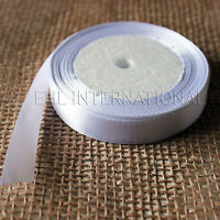 "5/8"" White Satin Ribbon 25 50 100 Yards Craft Wedding Favor Decoration"