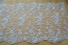 "16"" Scallop Edge Embroidery Lace Fabric Flora Corded Wedding Lace Trim 1 Yard"