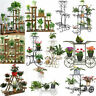 Wooden/Metal Flower Pot Plant Planter Stand Rack Shelf Home Outdoor Decoration