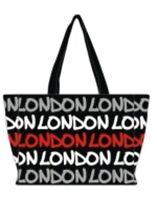 LONDON Robin Ruth Black /White / Red Canvas Ladies Handbag Souvenir Bag Gift
