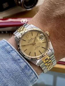 Tudor Two Tone Prince Date Men Automatic Rolex Gold Steel Vintage 1985 watch