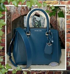 NWT MICHAEL KORS BENNING T/H Medium Satchel Crossbody Bag In LUXE TEAL Leather