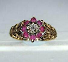 9ct GOLD RUBY & DIAMOND RING  -  Size O  .......... A24