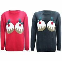 New Women's Plus Size Christmas Pudding Long Sleeve Novelty Jumpers Knitted Tops