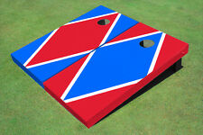 Red And Royal Alternating Diamond Custom Cornhole Board-1956