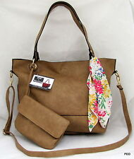 NYC by Perlina Faux Leather Tan Shoulder Handbag Purse Scarf Wristlet Shopper