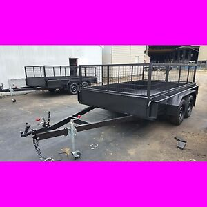 11x6 GALVANISED TANDEM TRAILER WITH CAGE 2TON FULL CHECKER PLATE also 10x6 12x6
