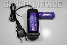 2 PILES ACCUS RECHARGEABLE 26650 8800mAh 3.7V Li-ion BATTERIE BATTERY + CHARGEUR