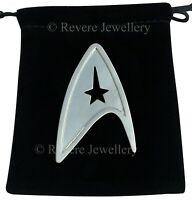 Star Trek Brooch Pin Badge Silver Steel Communicator Starfleet Command Gift Bag