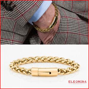 bracciale da uomo acciaio intrecciato chiusura a scatto braccialetto inox dorato
