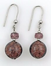 Vintage .925 Sterling Silver, Crystal & Dichroic Glass, Dangling Wire Earrings