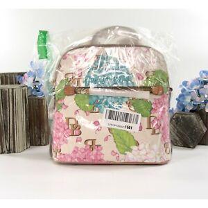 Dooney & Bourke Cream Hydrangea Monogram Zip Top Backpack Bag NWT