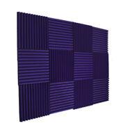 """12 Acoustic Purp Wedge Studio Foam Soundproofing Foam Wall Panels Tiles 1""""X12X12"""