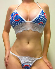 NEW MLB CHICAGO CUBS LACE TRIM PANTY/THONG SET A/B  TOP XS/SM MORE SIZES TOO