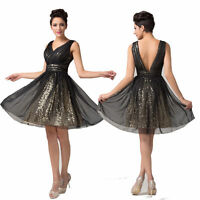 Cocktail Short Black Gold Formal Prom Dress Evening Bridesmaid Sequin Gown