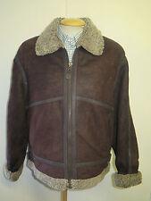"Vintage B3 Real Shearling Sheepskin Bomber Aviator Leather Jacket S 38"" Euro 48"