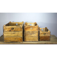 Upcycled Solid Teak Set of 3 Rustic/Vintage-Style Heavy Wooden Storage Crates