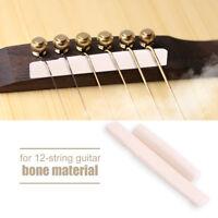 12 String Acoustic Guitar Cattle Bone Bridge Saddle&Nut Replacement Durable NEW