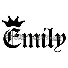 Emily Vinyl Sticker Decal Crown Name Old English - Choose Size & Color