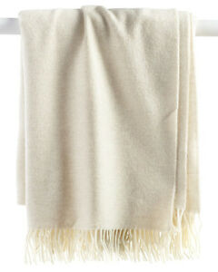 "Sferra Soft Merino Lambswool Throw Jonni Natural Twisted Fringe 50x70"" New"