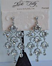Kirks Folly All Crystal Earrings In Silver Tone Post Style Earrings